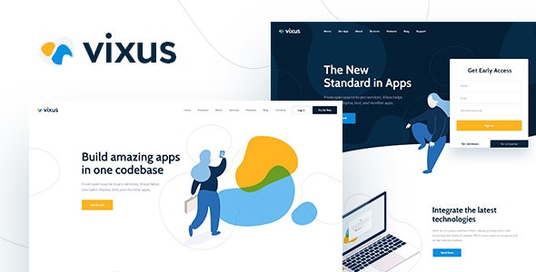 Vixus - 移动应用程序着陆页WordPress主题-创客云