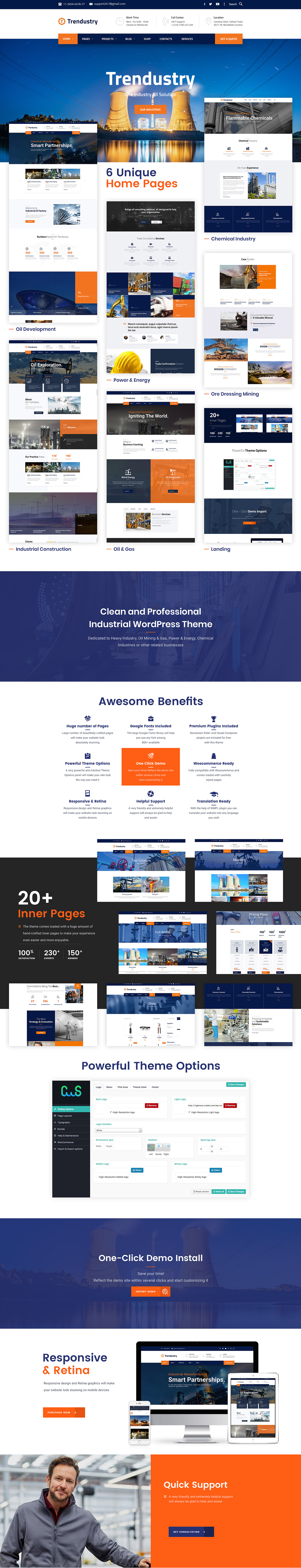 Trendustry - 工业制造网站模板WordPress主题-创客云