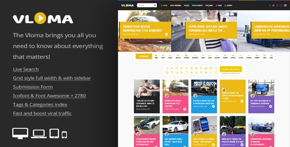 Vloma Grid - 响应式商品博客文章模板WordPress主题-创客云