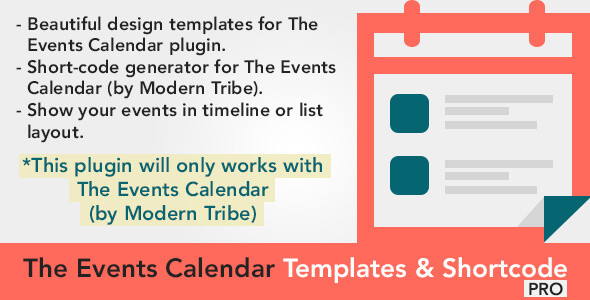 The Events Calendar Shortcode and Templates 日历活动扩展插件 – v2.3