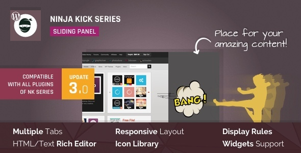 Ninja Kick: Sliding Panel 滑动面板侧边栏插件 – v3.0.13
