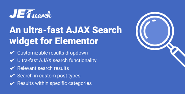 JetSearch – Elementor扩展AJAX搜索小部件 – v2.1.4