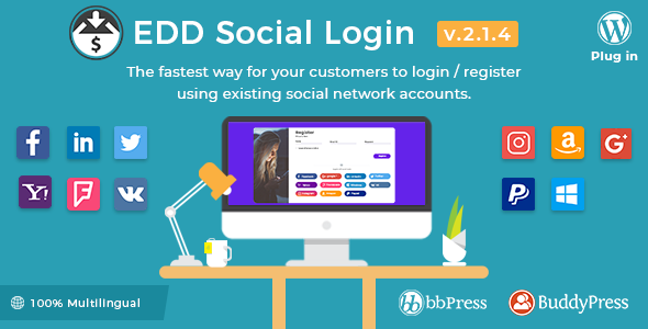 Easy Digital Downloads – Social Login 社交登陆插件 – v2.2.9