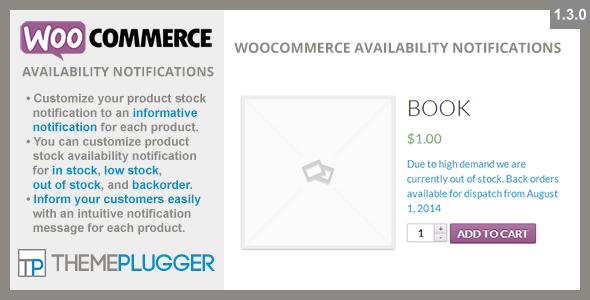 WooCommerce Availability Notifications 商品库存可用性通知WordPress插件 – v1.4.1