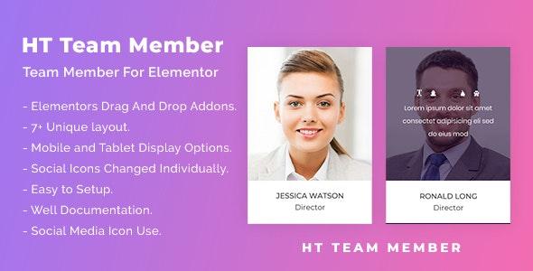 HT Team Member For Elementor 可视化团队成员插件 – v1.0.0