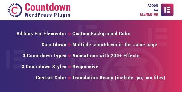 Countdown for Elementor – 可视化倒计时WordPress插件 – v1.0.0