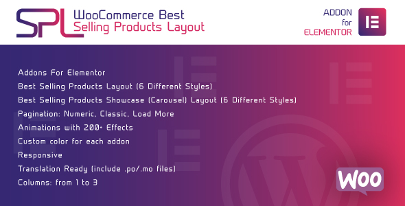 WooCommerce Best Selling Products Layout for Elementor – 畅销产品布局WordPress插件 – v1.0.0