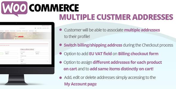 WooCommerce Multiple Customer Addresses 客户多地址插件 – v17.5
