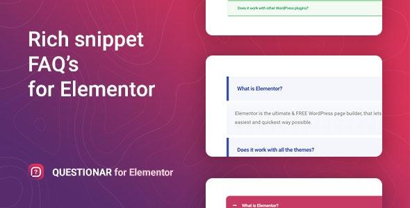 Questionar – FAQ 帮助模块折叠选项卡Elementor插件 – v1.0.1