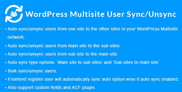 WordPress Multisite User Sync/Unsync – 多站点会员同步插件 – v1.4.0
