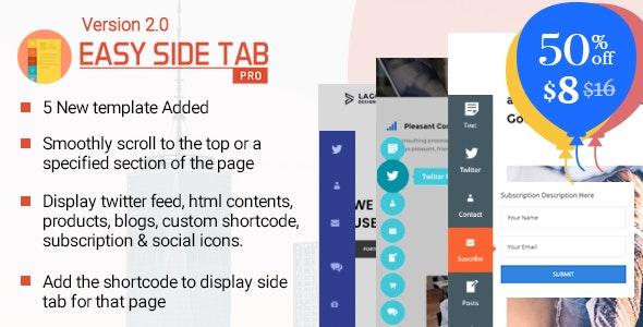 Easy Side Tab Pro – 响应式浮动标签插件WordPress插件 – v2.0.5