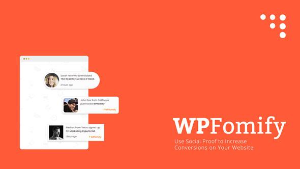 WPfomify – 产品销售提示注册登陆提示WordPress插件 – v2.2.0