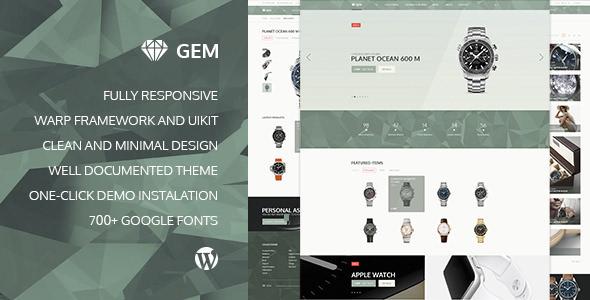 Gem – 奢侈品电子商务响应WordPress主题 – v2.3.0