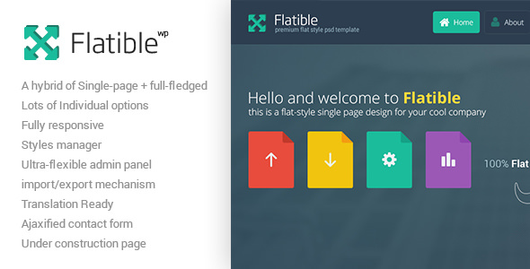Flatible – 单页简约网站模板WordPress主题 – v1.5.1