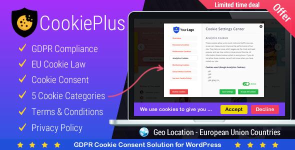Cookie Plus – GDPR Cookie 自定义插件 – v1.5.0