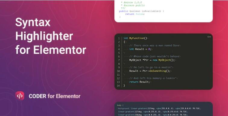 Coder – Syntax Highlighter for Elementor 可视化代码高亮插件 – v1.0.4