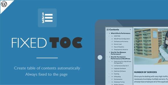 Fixed TOC – 文章目录创建WordPress插件 – v31.1.9
