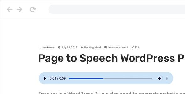 Speaker – 页面文本转换语音WordPress插件 – v3.1.0