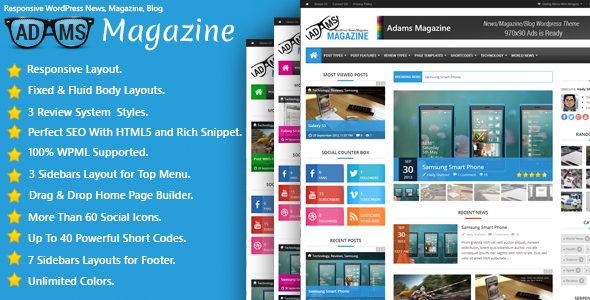 Adams 新闻杂志博客 WordPress主题模板