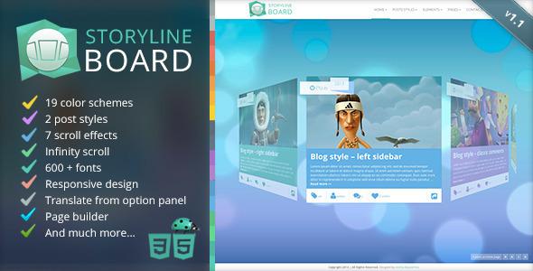Storyline Board 创意 WordPress主题创客模板