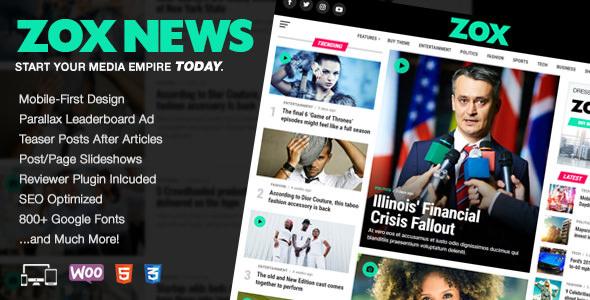 Zox News – 新闻杂志网站模板WordPress主题 – v3.6.0