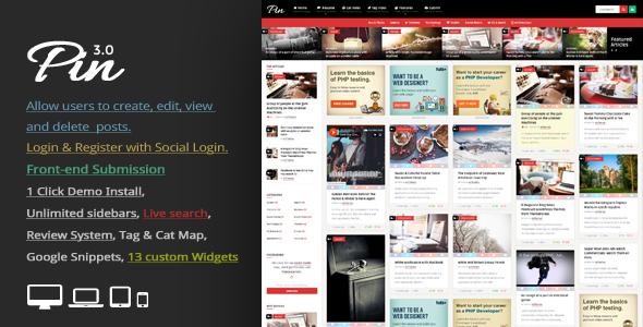Pin – Pinterest 风格/个人瀑布流博客 – v5.2