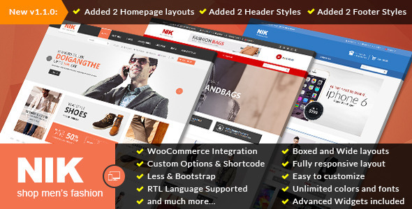 Nik WooCommerce购物商城WordPress主题 – v1.2