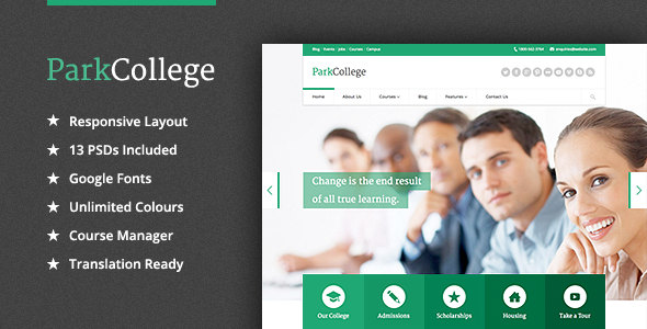 ParkCollege 学校和培训 WordPress主题 – v1.5.2