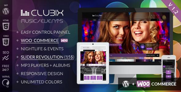 Clubix v2.3.0 – 酒吧音乐俱乐部WordPress主题