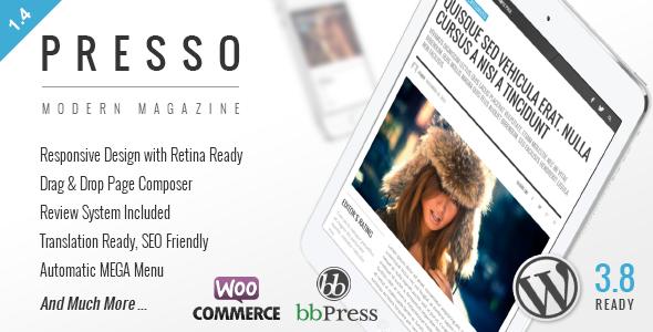 PRESSO 干净时尚的杂志 WordPress主题[更新至v2.0.1]