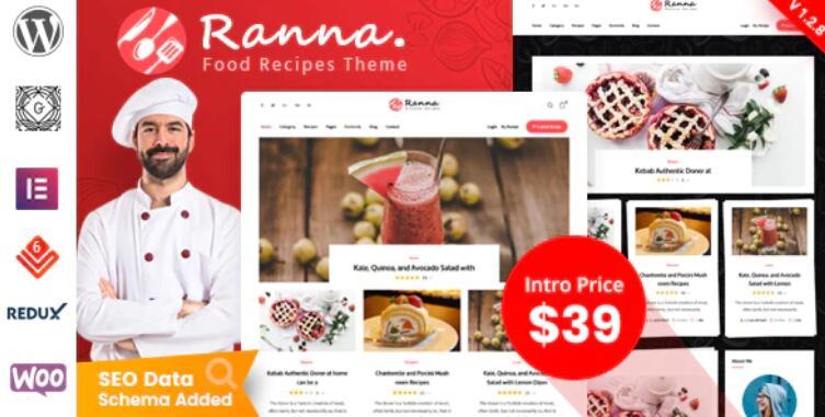 Ranna – 餐饮美食食谱网站模板WordPress主题 – v1.2.2