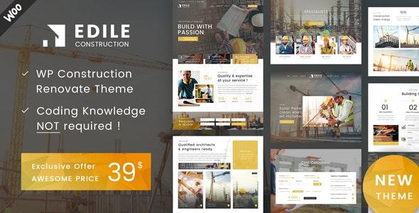 【汉化主题】建筑工程项目企业网站模板WordPress主题 Edile v1.3-WordPress汉化资源