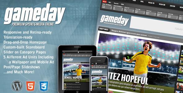 Gameday 体育新闻WordPress主题 – v3.02