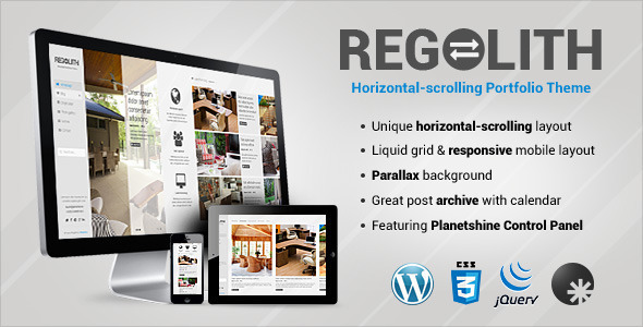 Regolith 创意水平作品展示WordPress主题