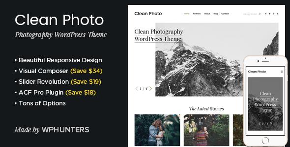 Clean Photo 摄影作品展示WordPress主题 – v1.9.3